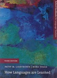 How Languages Are Learned by Patsy M Lightbrown and Nina Spada