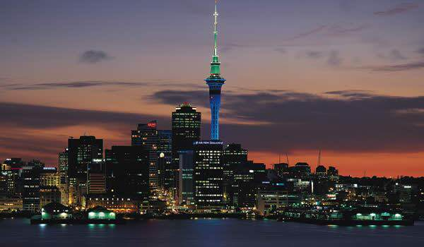 The Auckland city skyline at night